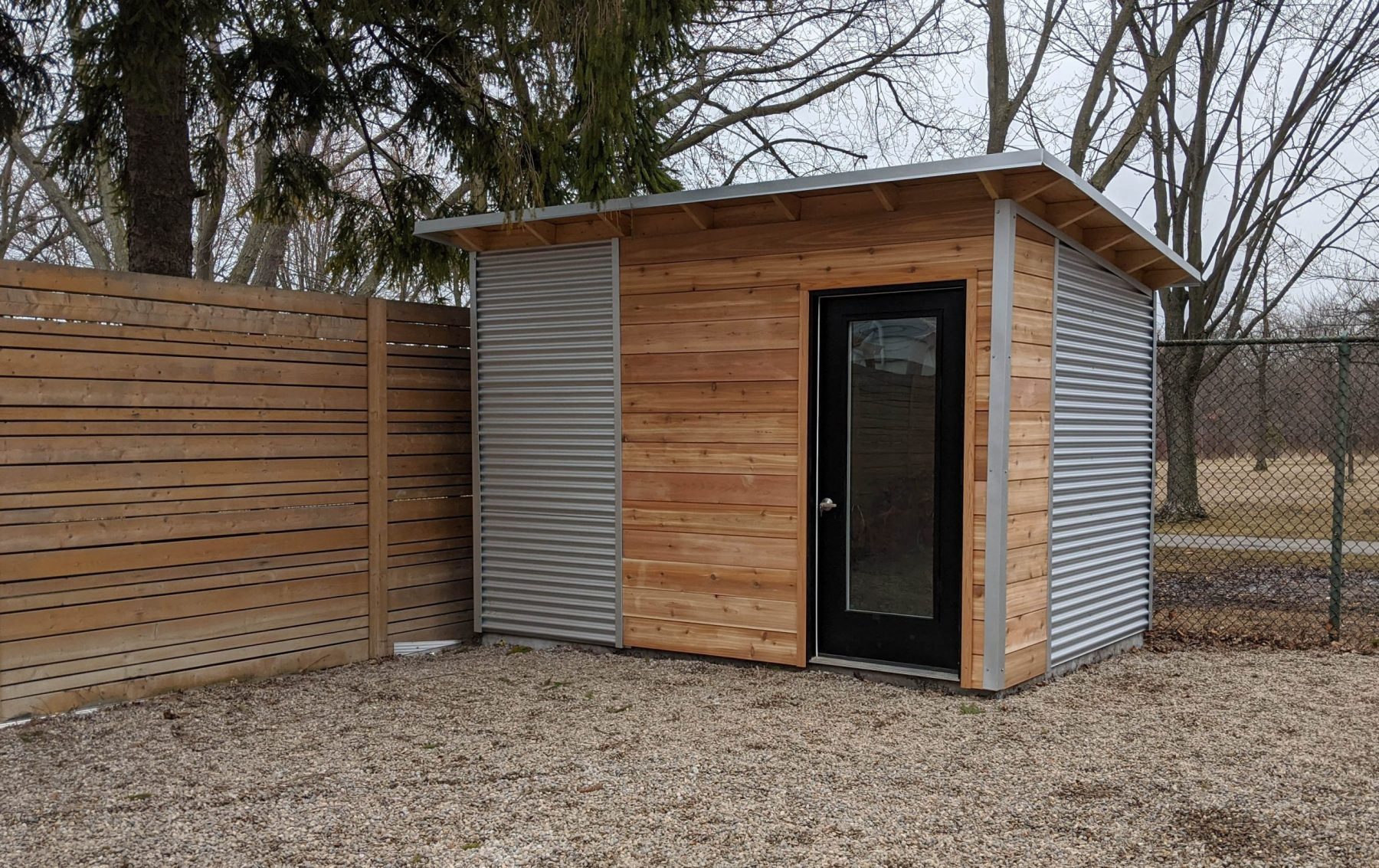 12' x 8' Custom Essential Shed with Natural Cedar Siding and Galvalume Steel