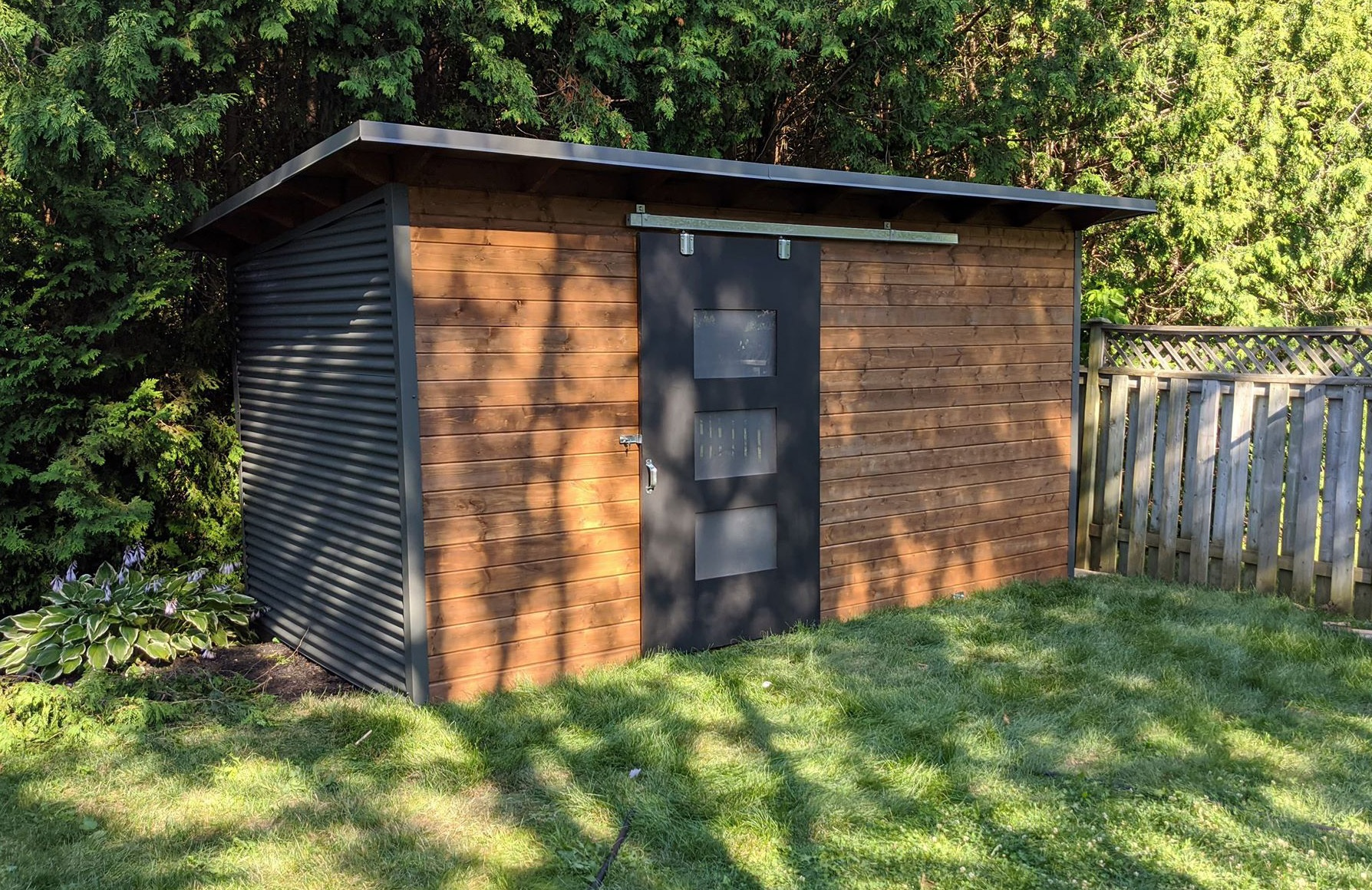 16' x 8' Essential Shed with Muskoka Brown Stain and Charcoal Steel