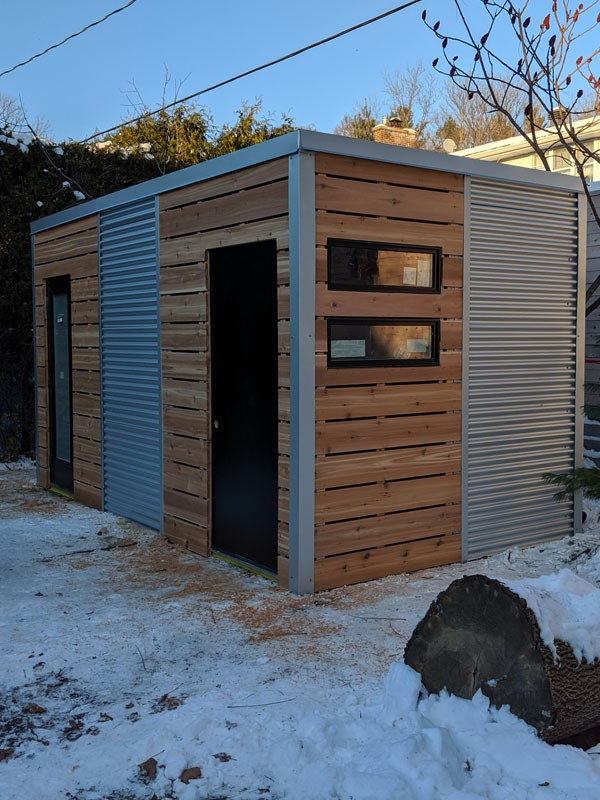 16' x 8' Custom Cube Shed with Cedar Siding and Galvalume Steel