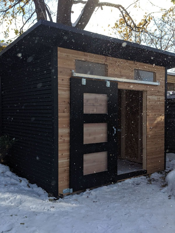 10' x 8' Advanced Modern Shed with Natural Cedar Front and Jet Black Steel