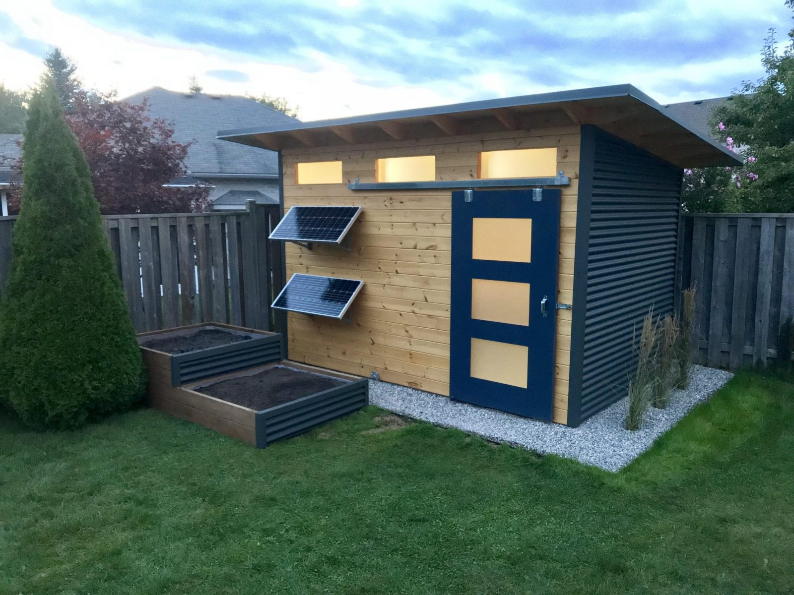 12' x 8' Advanced Storage Shed with Clear-coated Pine and Graphite Gray Steel