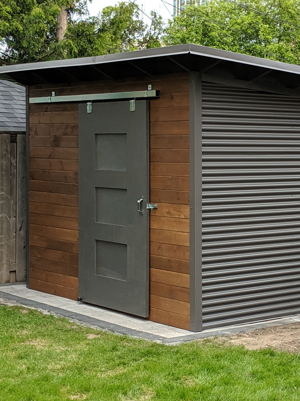 10' x 8' Essential Garden Shed with Muskoka Brown Stain and Charcoal Steel