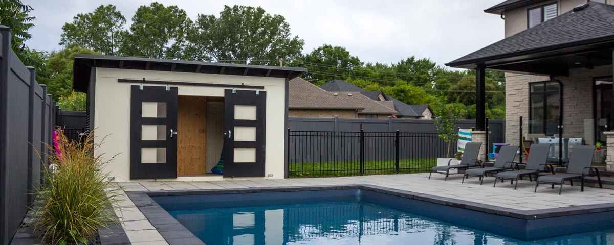 12' x 8' Essential Pool Shed with White Revolution Panel and Jet Black Steel