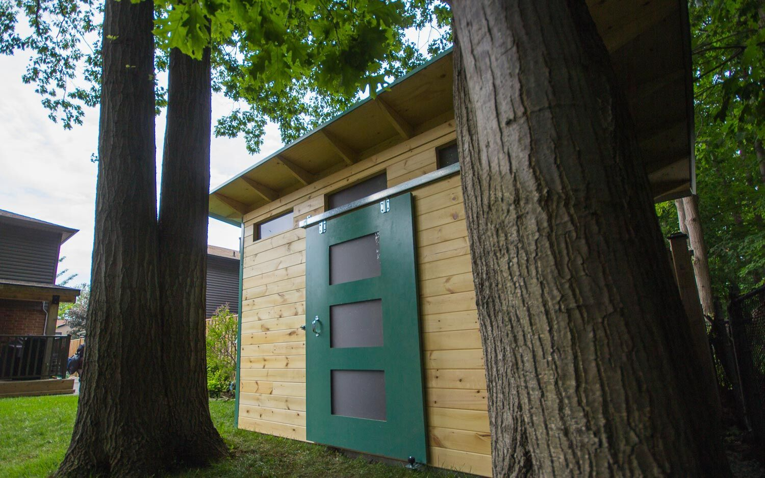 12' x 8' Advanced Garden Shed with Clear-coated Pine and Turquoise Steel
