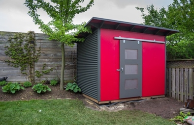 Red and Gray Essential Shed