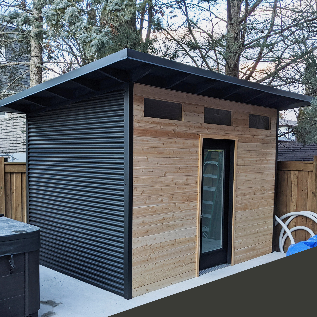 12' x 8' Advanced Shed with Eastern White Cedar and Jet Black Steel