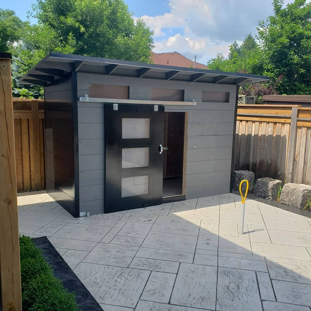 12' x 8' Advanced Storage Shed with Kendall Charcoal Shiplap and Black Flatstock Steel