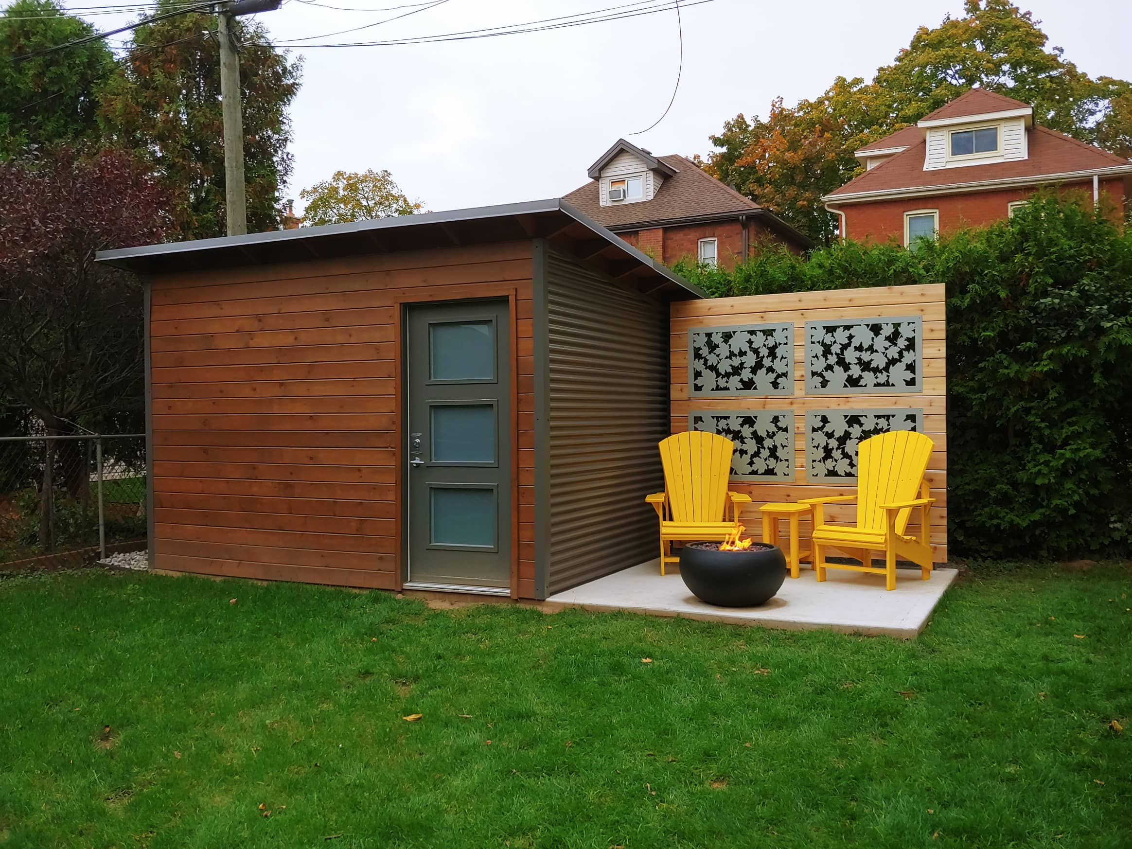 12' x 8' Custom Garden Shed with Muskoka Brown Stain and Charcoal Steel