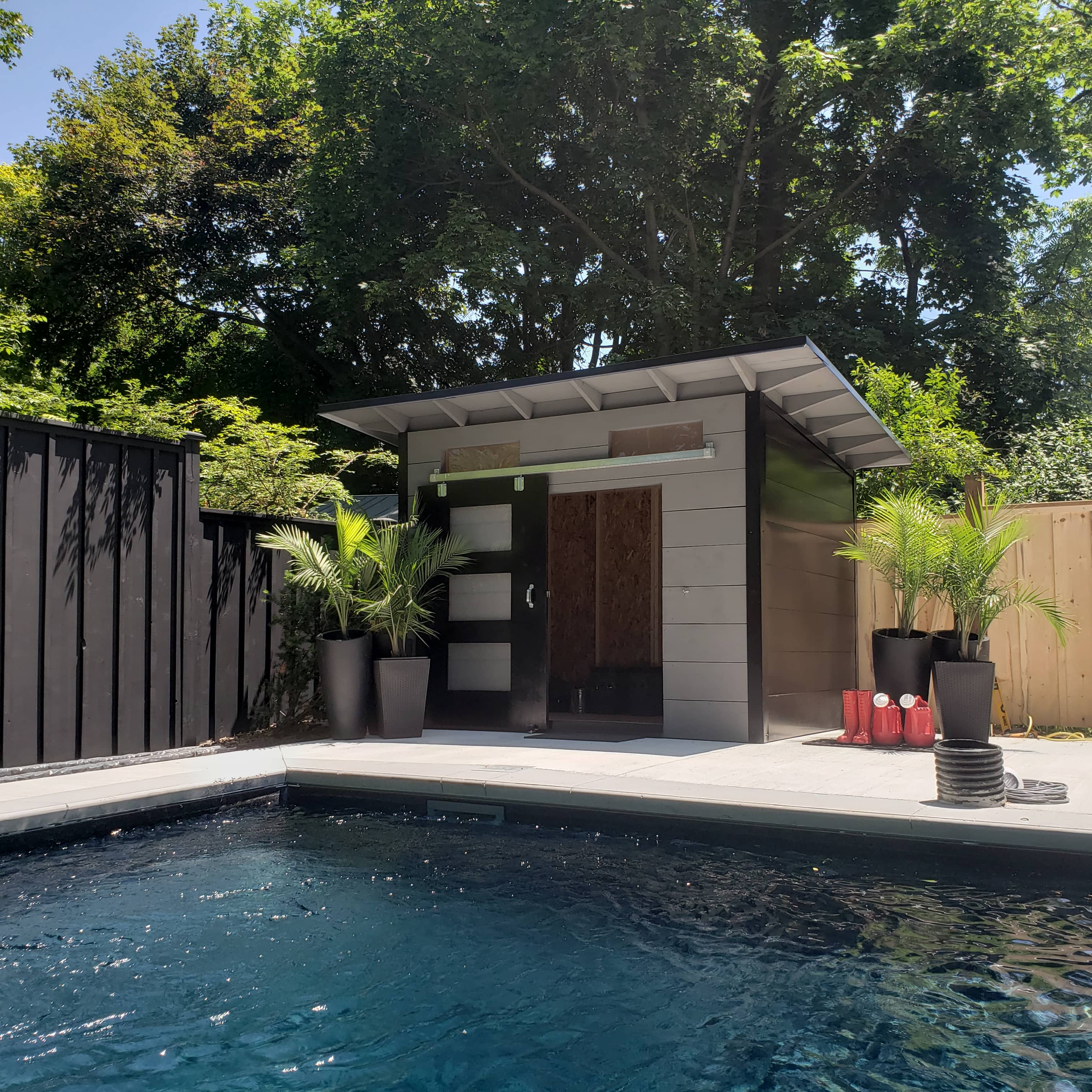 10' x 8' Advanced Pool Shed with Kendall Charcoal Shiplap Siding and Black Flatstock Steel