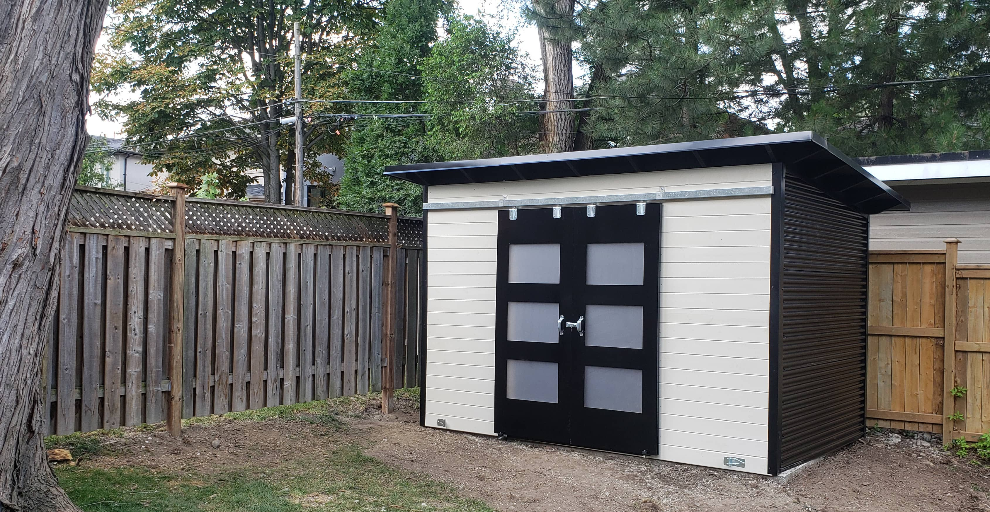 12' x 8' Essential Garden Shed with White Satin Stain and Jet Black Steel