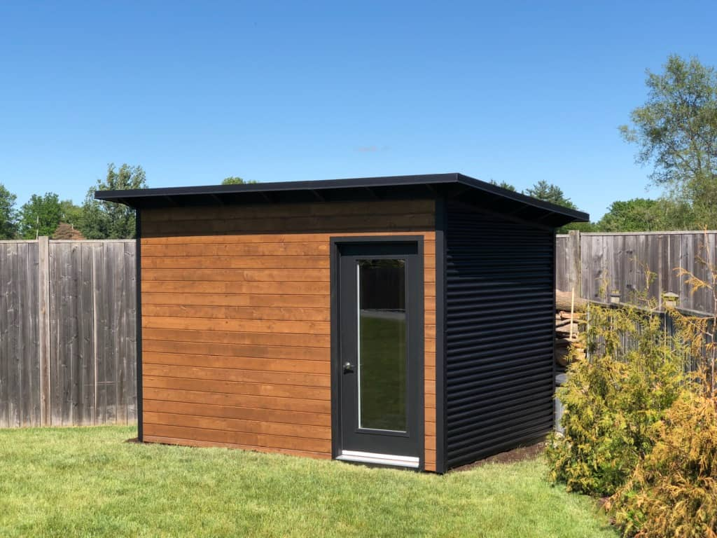 12' x 8' Custom Essential Shed with Muskoka Brown Stain and Jet Black Steel