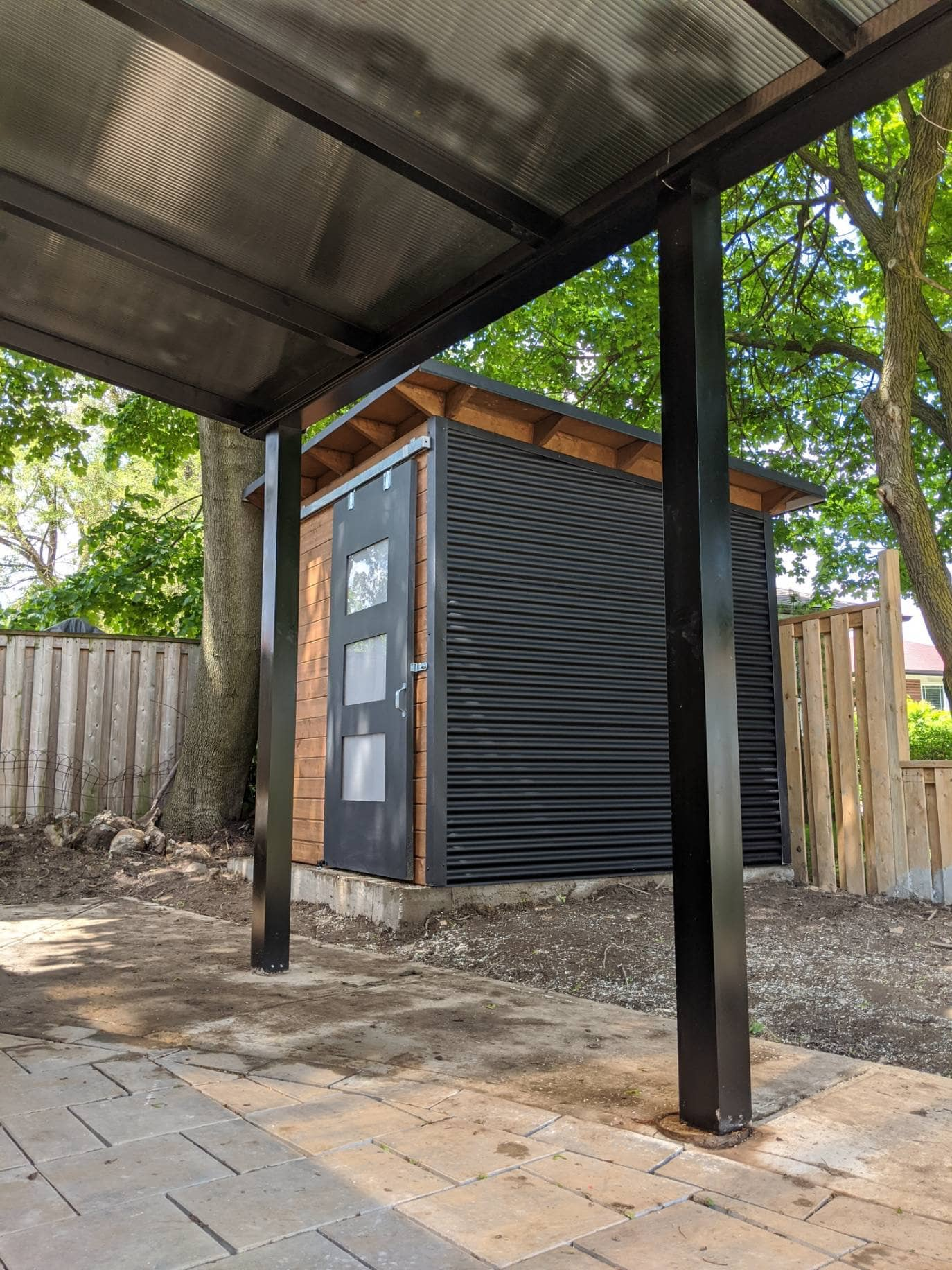 8'x 8' Essential Garden Shed with Muskoka Brown Stain and Charcoal Steel