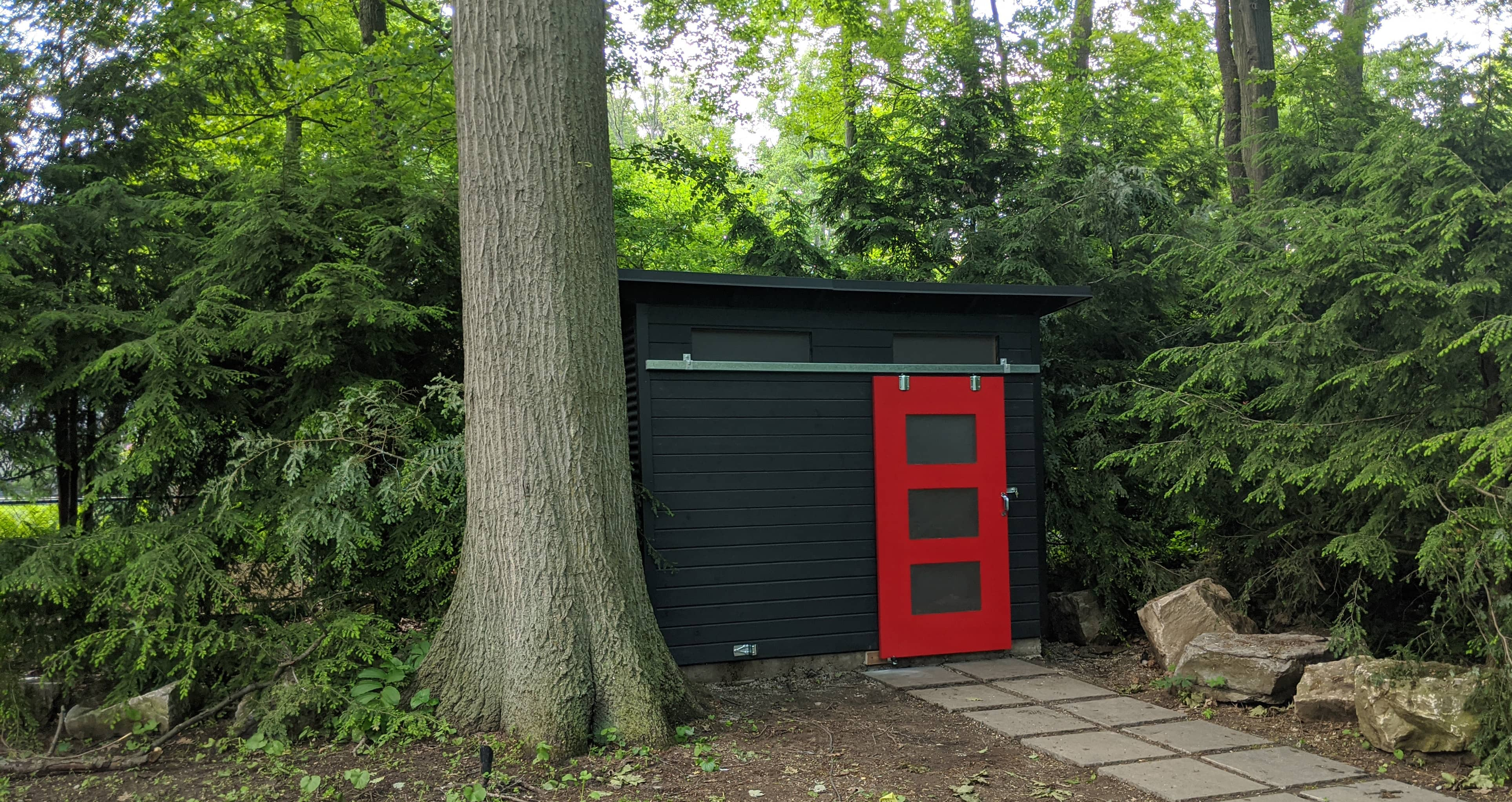 10' x 8' Advanced Shed with Black Beauty Stain and Jet Black Steel