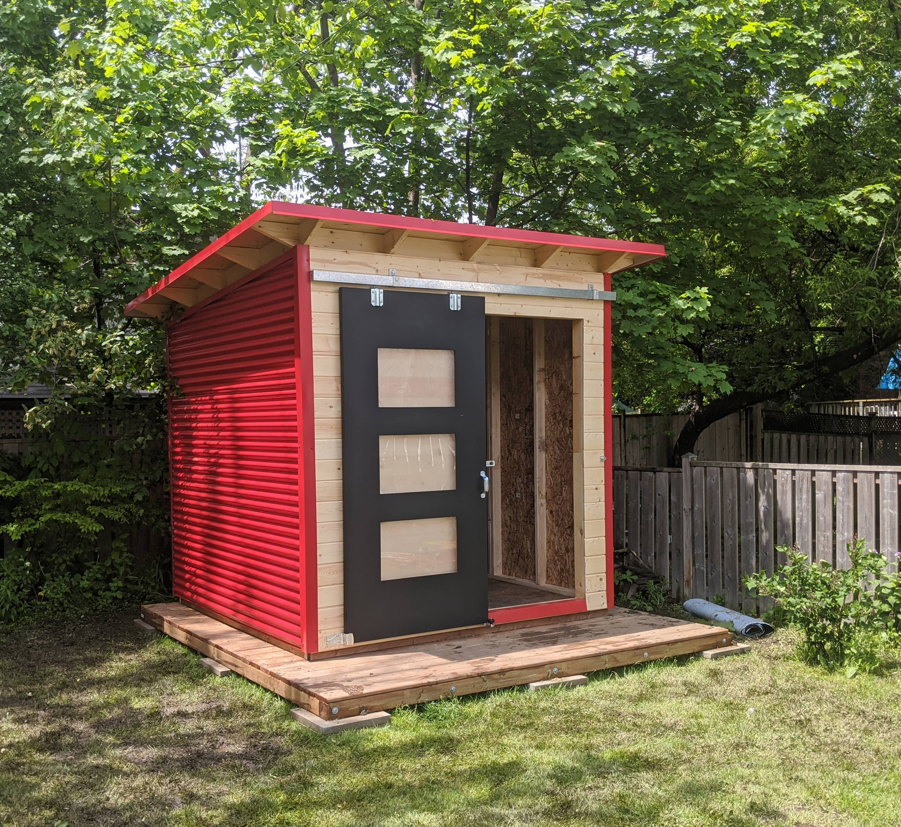 10' x 8' Essential Garden Shed with Clear-coated Pine and Red Steel