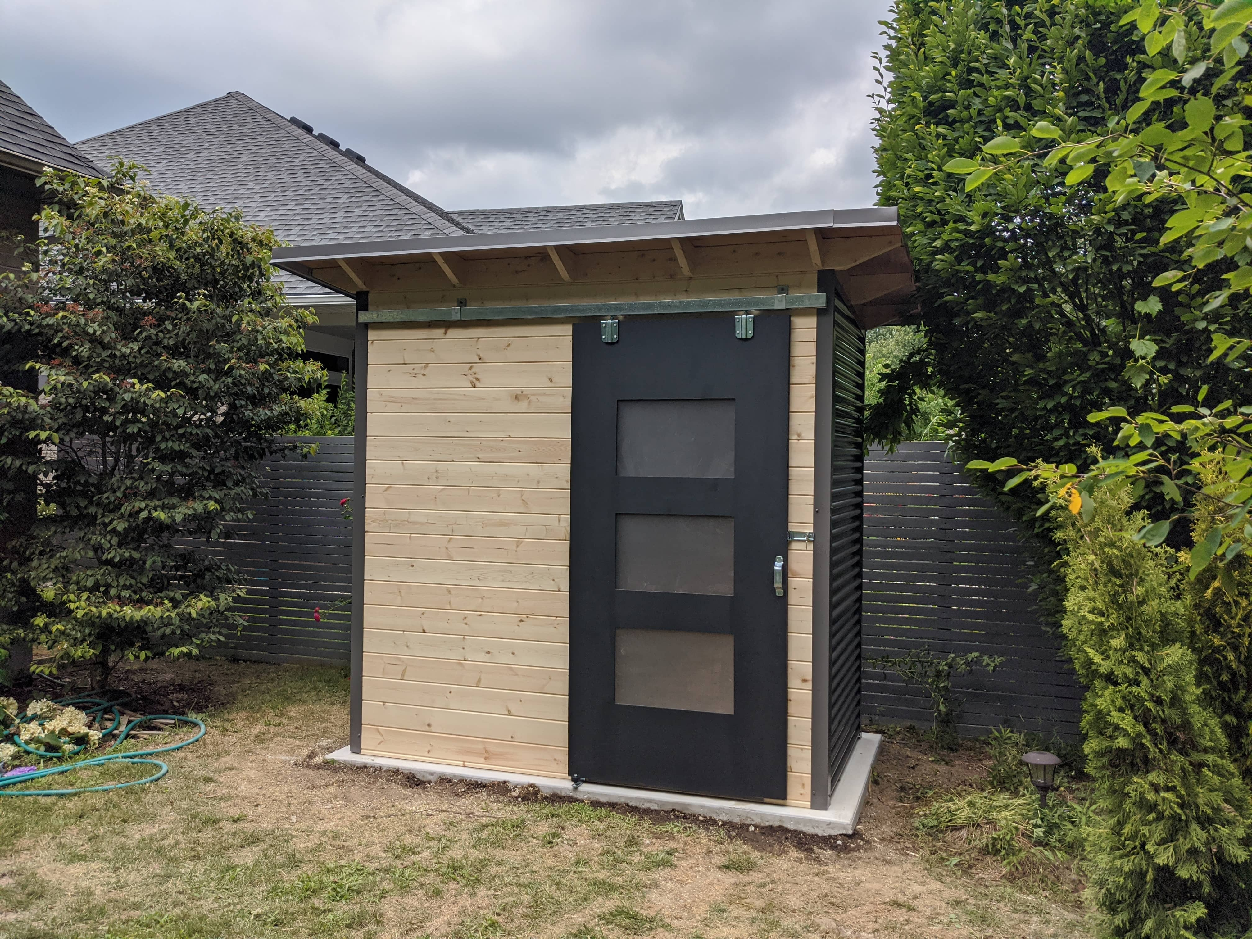 8' x 4' Essential Garden Shed with Clear-coated Pine Front and Charcoal Steel