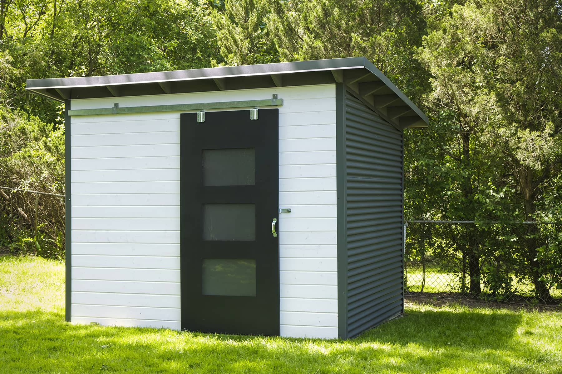 10' x 8' Essential Shed with White Satin Stain and Charcoal Steel
