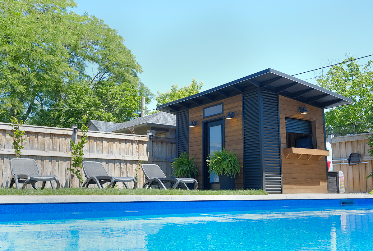 12' x 8' Custom Pool Shed with Muskoka Brown Pine and Jet Black Steel