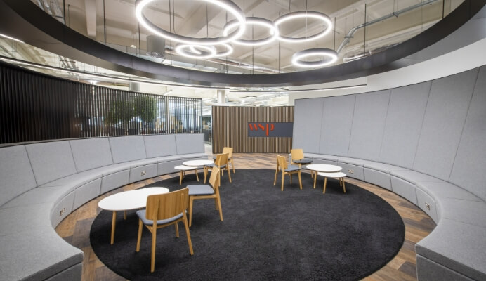 A modern and circular office space.