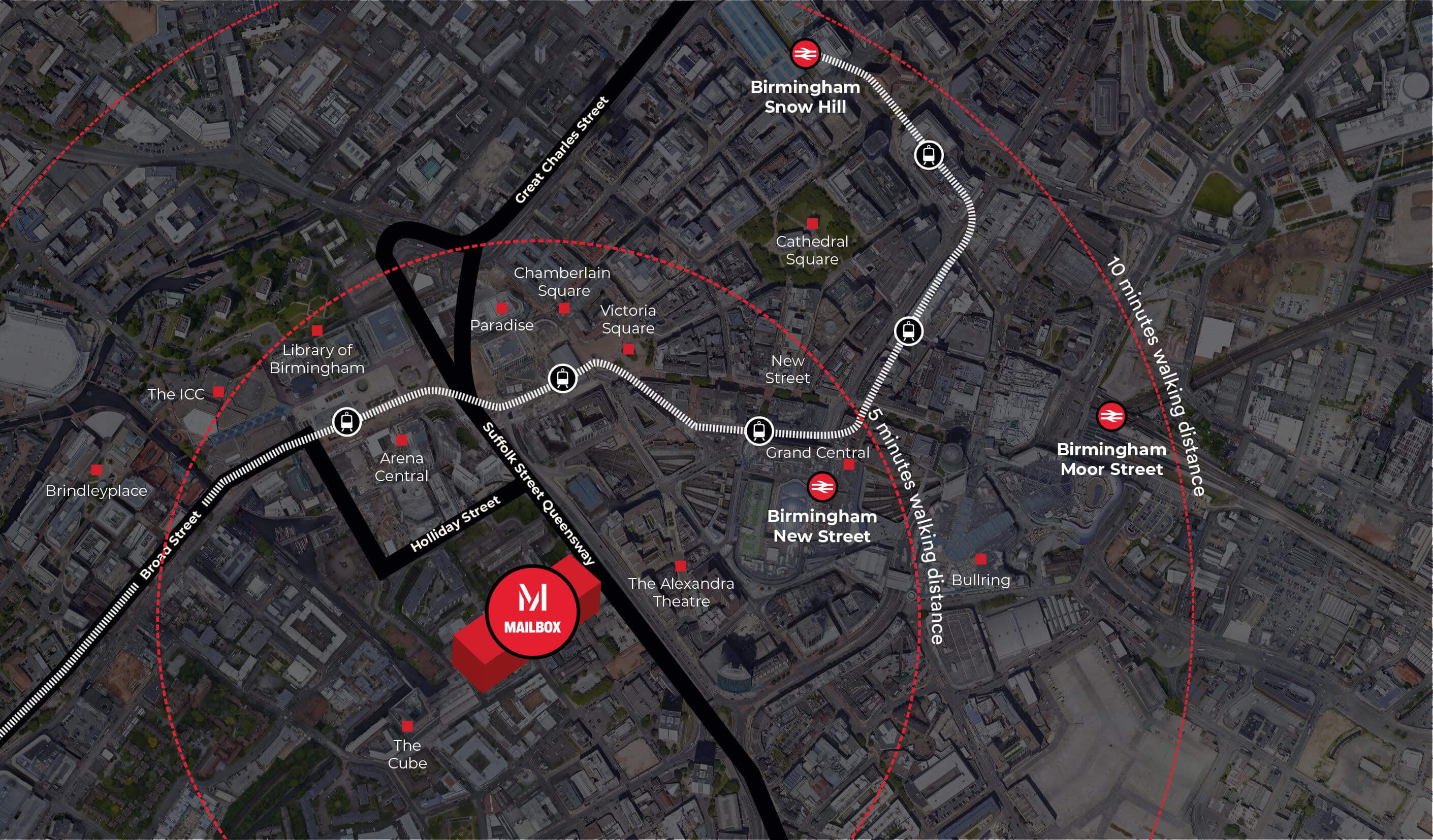 A map of Birmingham showing what is in 5 minute and 10 minute walking distances.