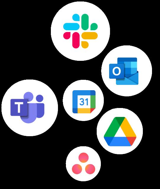 bubbles with integration icons; Slack, Google Drive, Asana, Outlook, Google Calendar, MSTeams