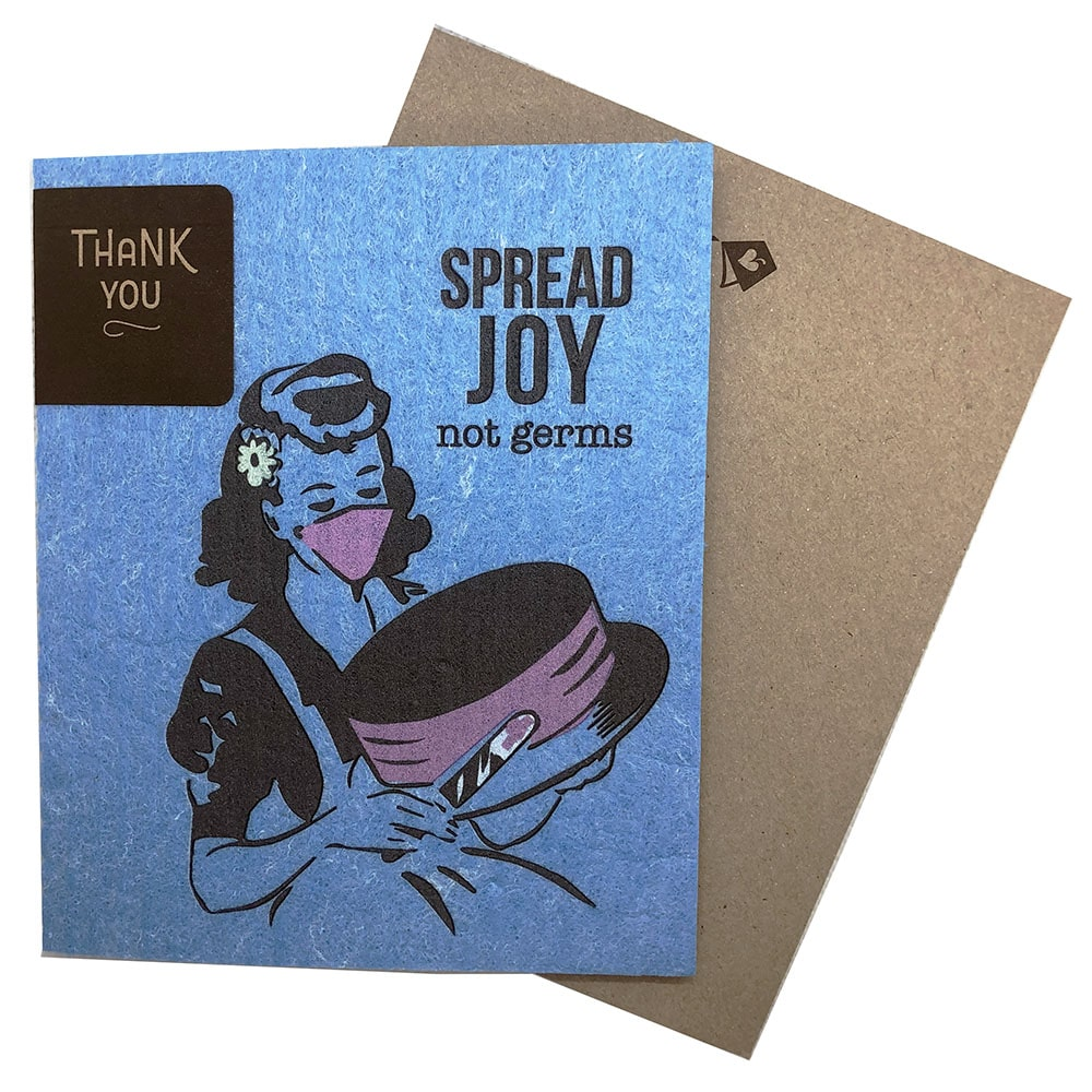 Greeting Card - Spread Joy Not Germs Vintage Cake Decorating (greetings that clean up)