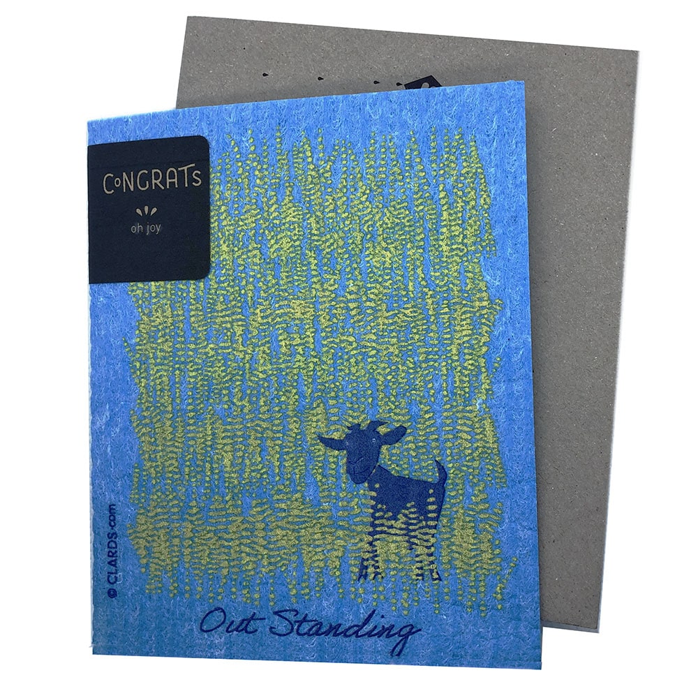 Greeting Card - Goat Outstanding in his Field (greetings that clean up)