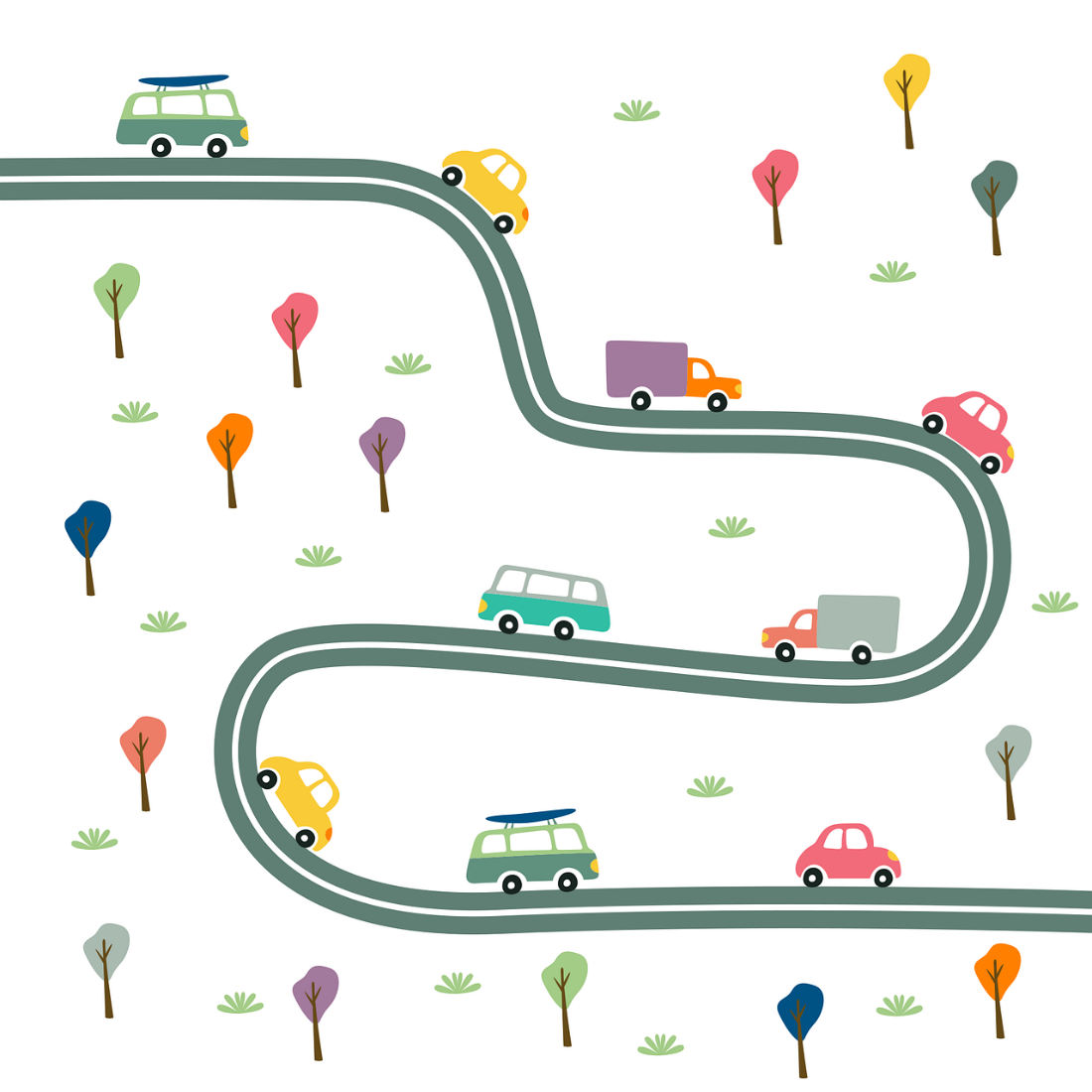 An image that depicts vehicles driving on a cartoon-like road.
