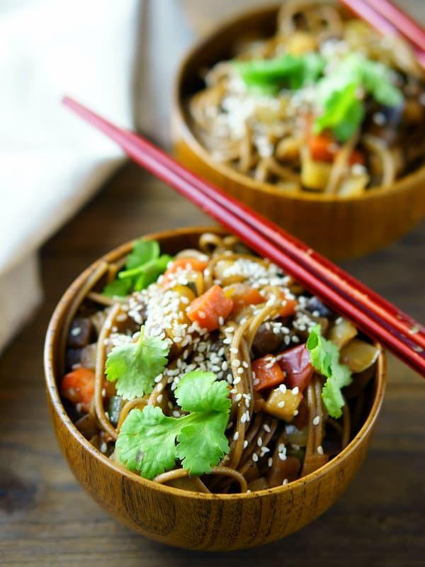 tuna and salmon poke bowl with chopsticks