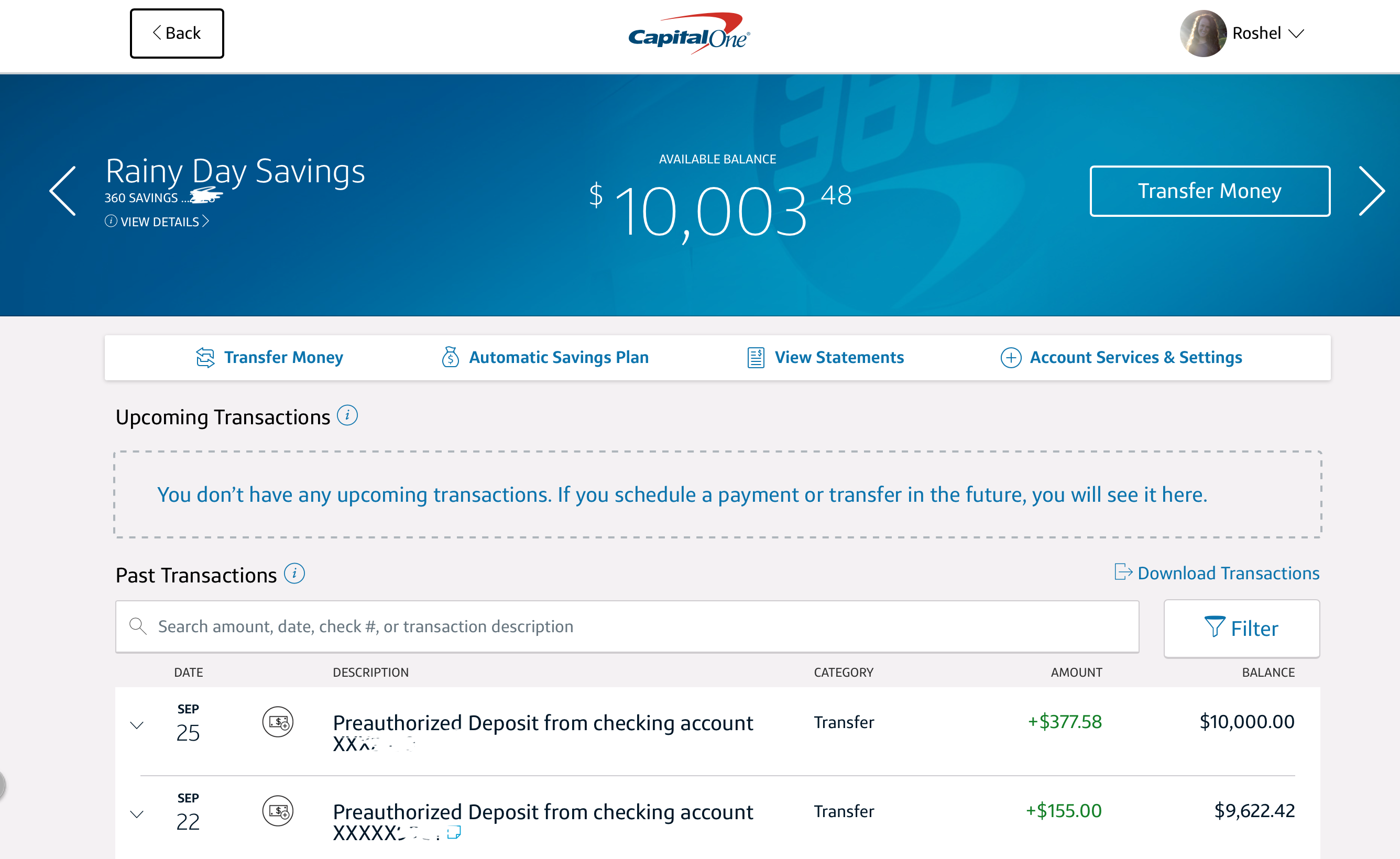 Capital One online savings account