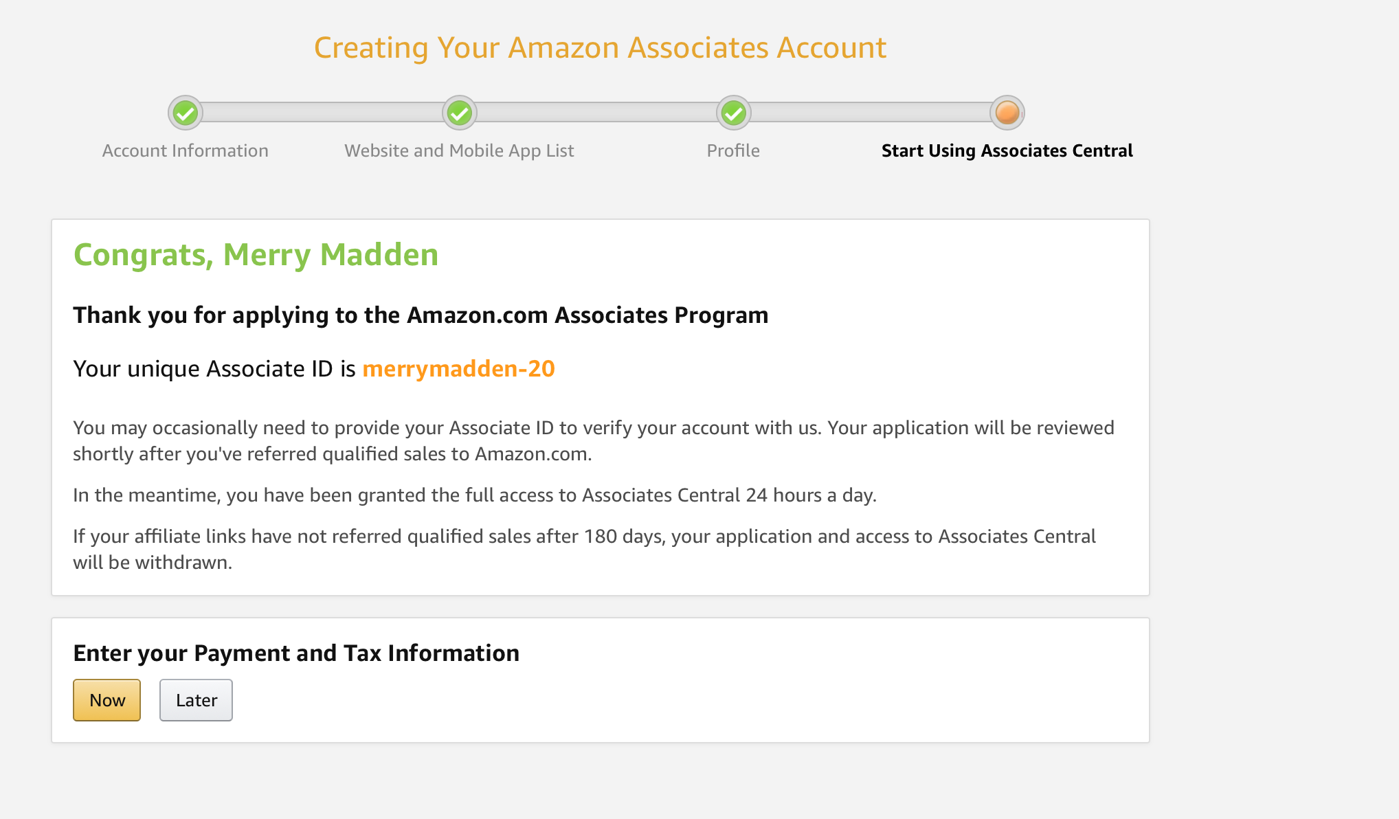 Amazon Associates Account