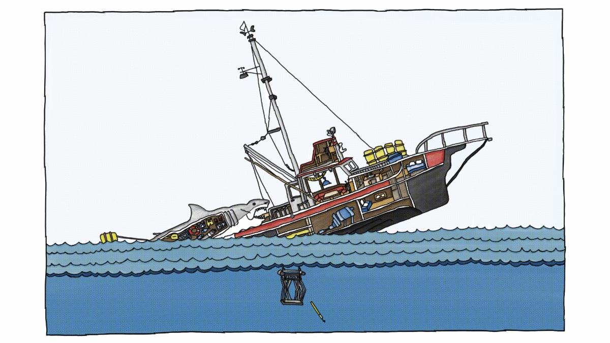 Jaws Cutaway by graphic designer, Kacey Morrow