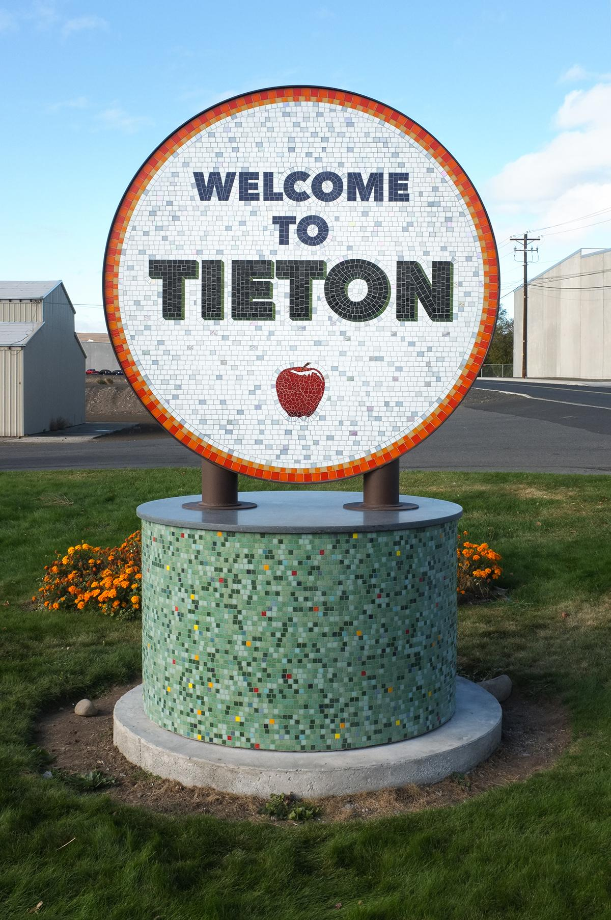 Tieton welcome sign from Tieton Mosaic. Photo credit, Ed Marquand