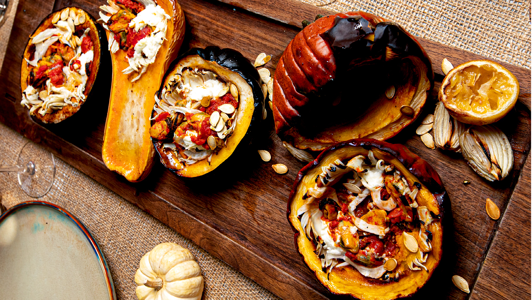 Squash Stuffed With Mussels, Fennel And Ricotta