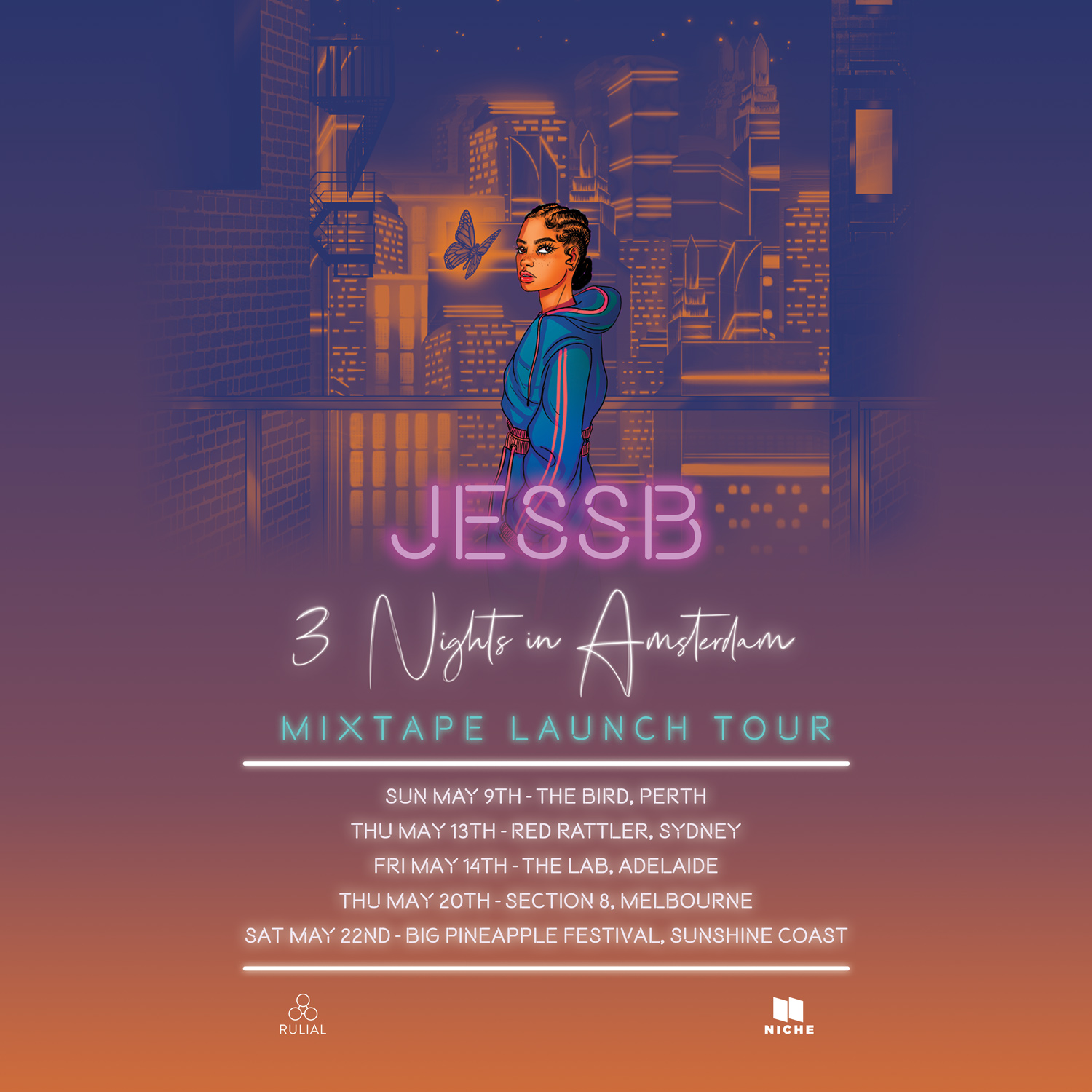 JessB launches her new project '3 Nights In Amsterdam' across Australia in May.