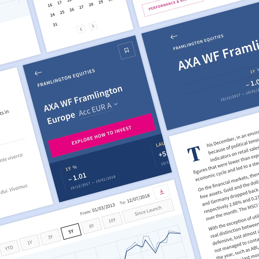 A montage of the user experience modules for the fund centre redesign for AXA Investment Managers.
