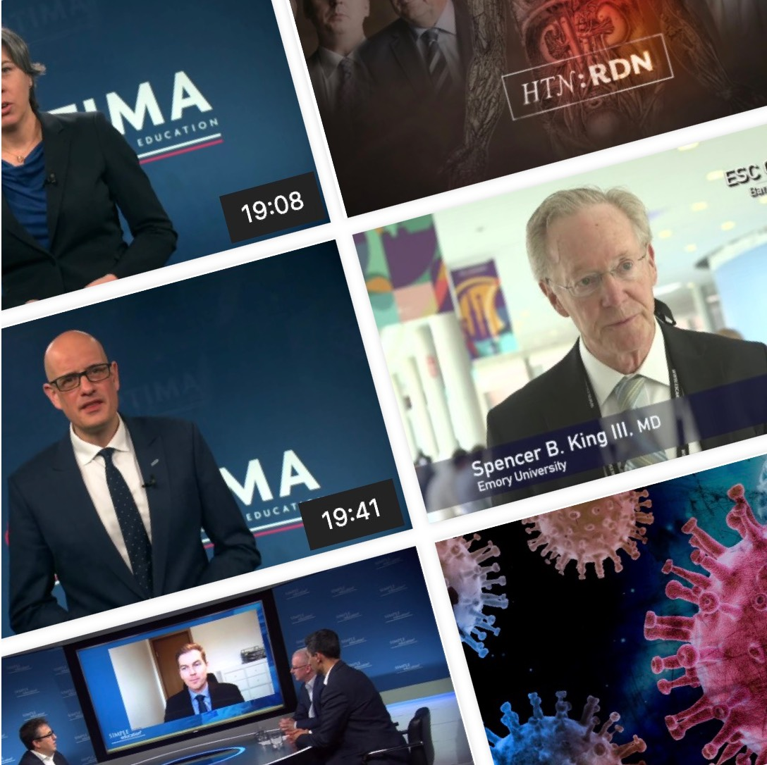 A montage of screen shots from the videos on the Rutherford Medicine platform showing doctors and medical diagrams.