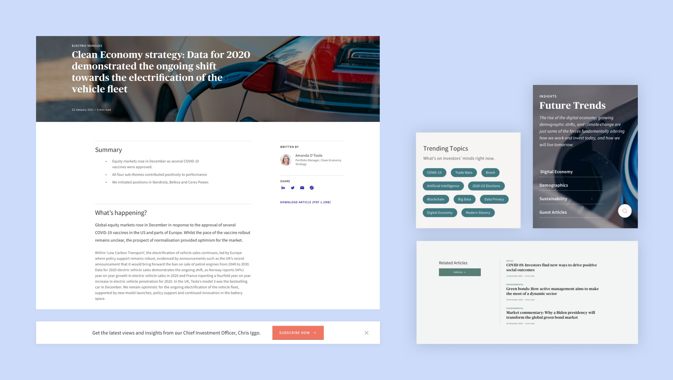 Screen shots of a mobile and desktop devices of the editorial web experience design for AXA IM.