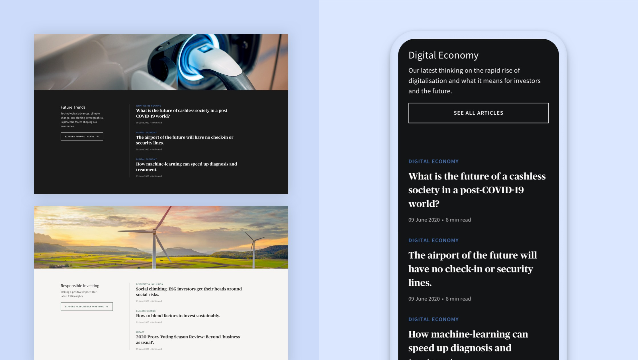 Screen shots of a mobile and desktop device of the editorial web experience design for AXA IM.