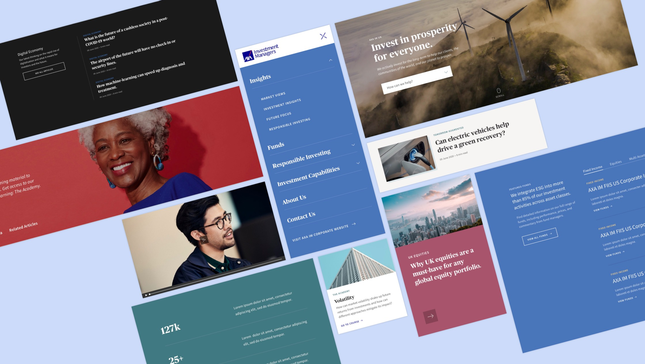 A montage of user interface modules for the new web experience for AXA IM.