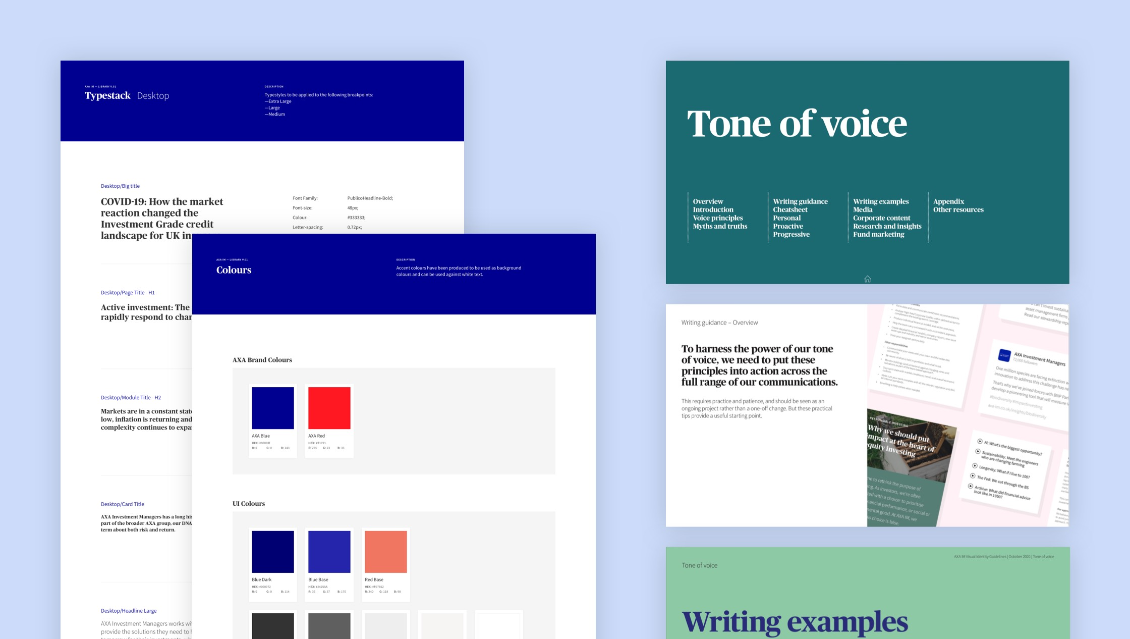 A group of screen shots showing the design guidelines and ton of voice guidelines for the AXA IM web experience.