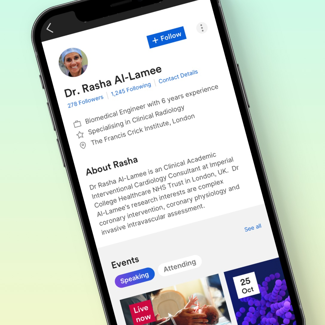 A mobile screen shot of a doctors profile on the new Wondr Medical community platform.