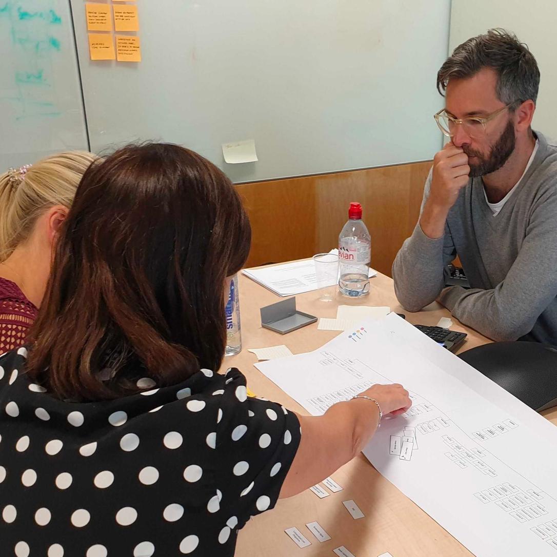 Three professionals workshopping a digital transformation programme.