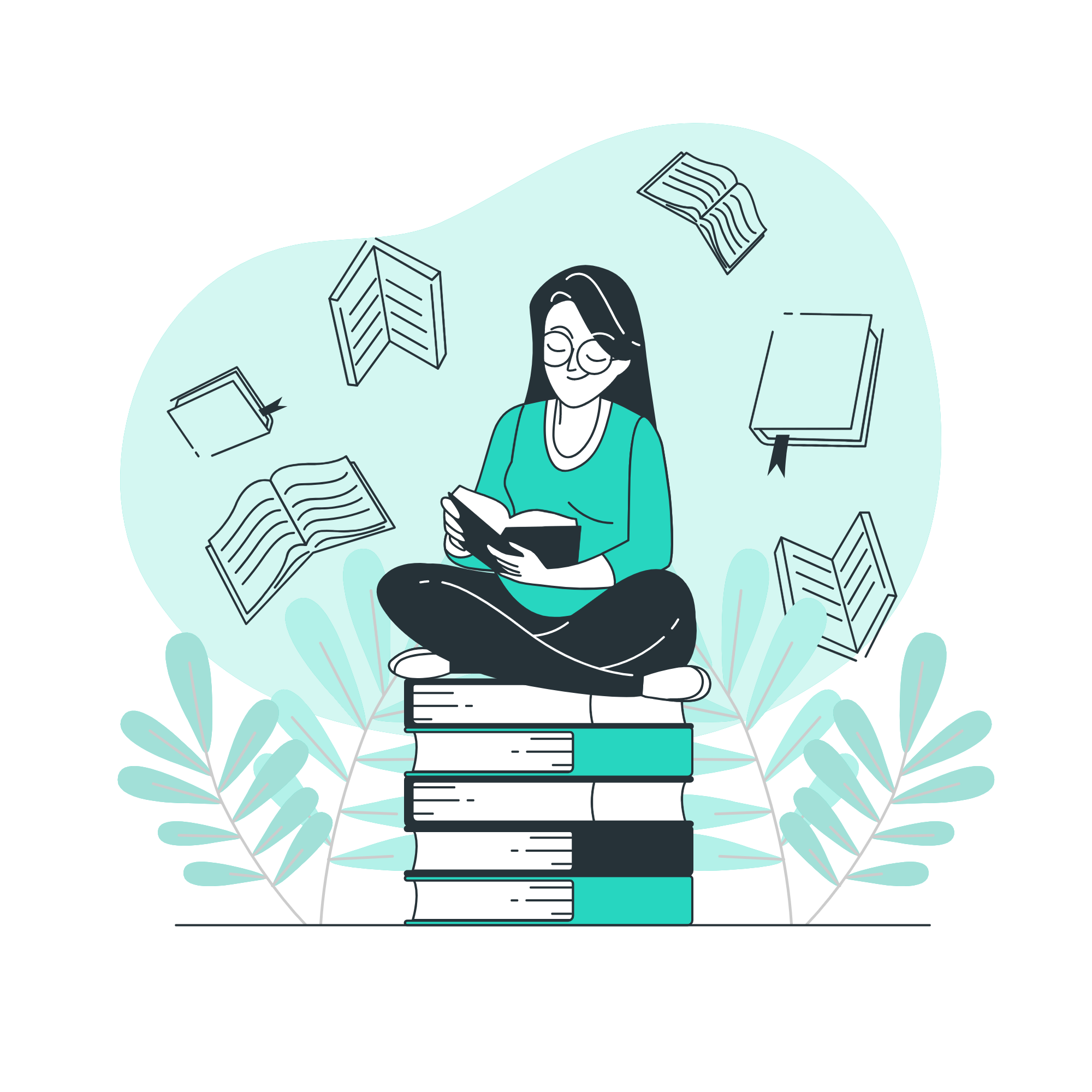 A girl reading sitting on a stack of books from stories by freepik
