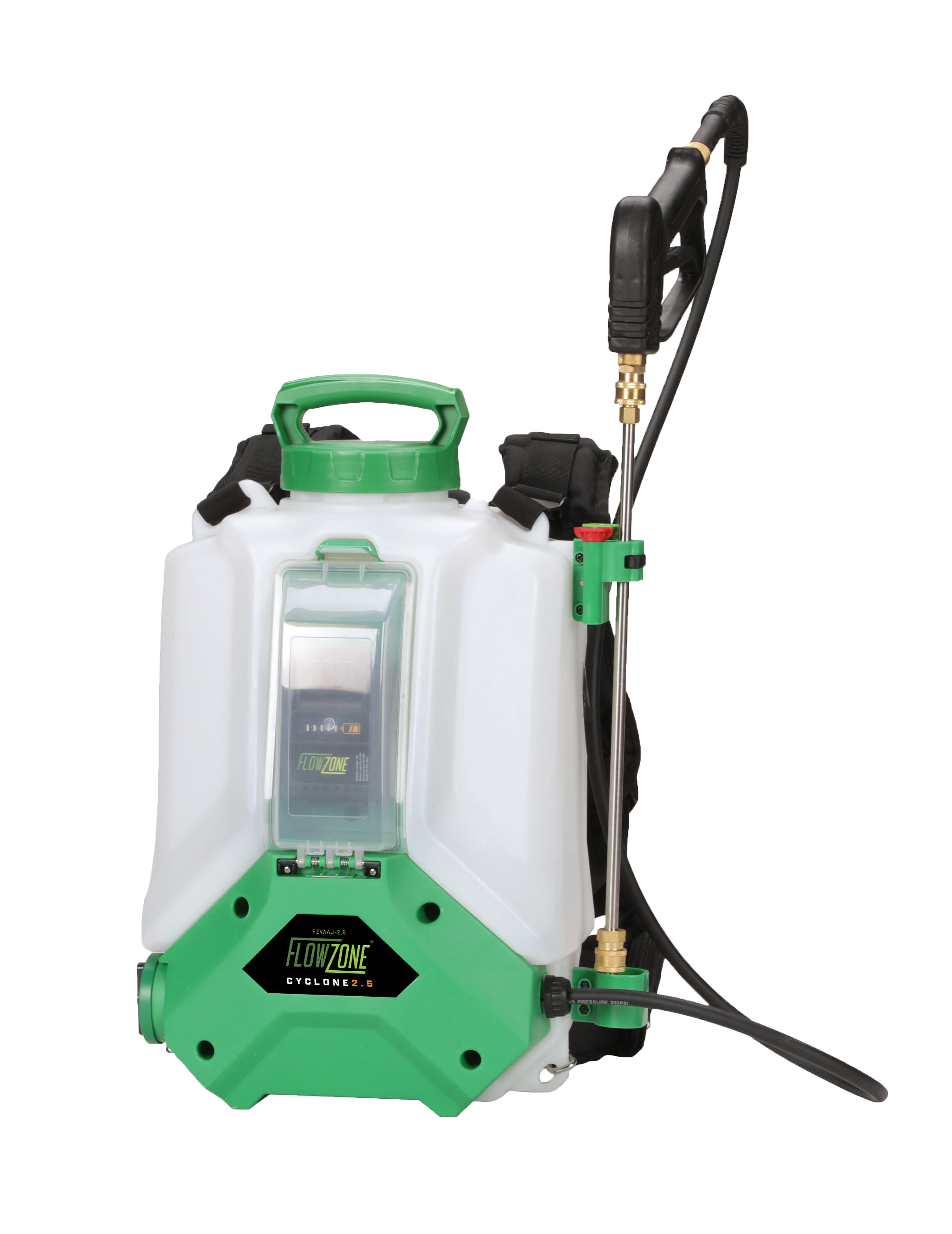 front view of FlowZone Cyclone 2.5 battery powered backpack sprayer