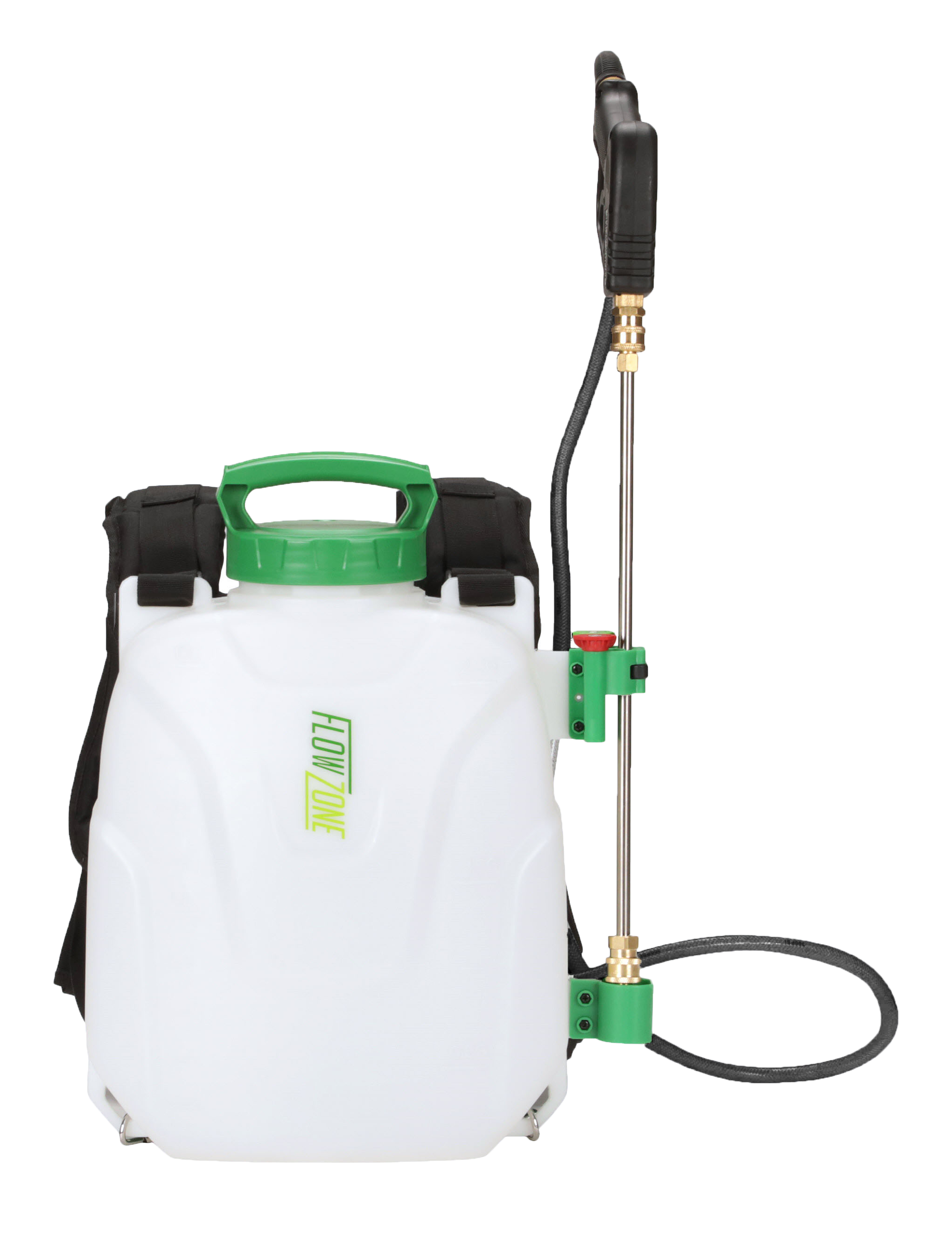 Front view of FlowZone Storm 2.5 battery powered backpack sprayer