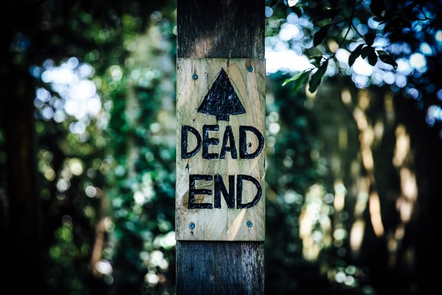 An image of a wooden, hand painted dead end sign