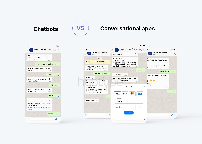 chatbots vs. conversational apps