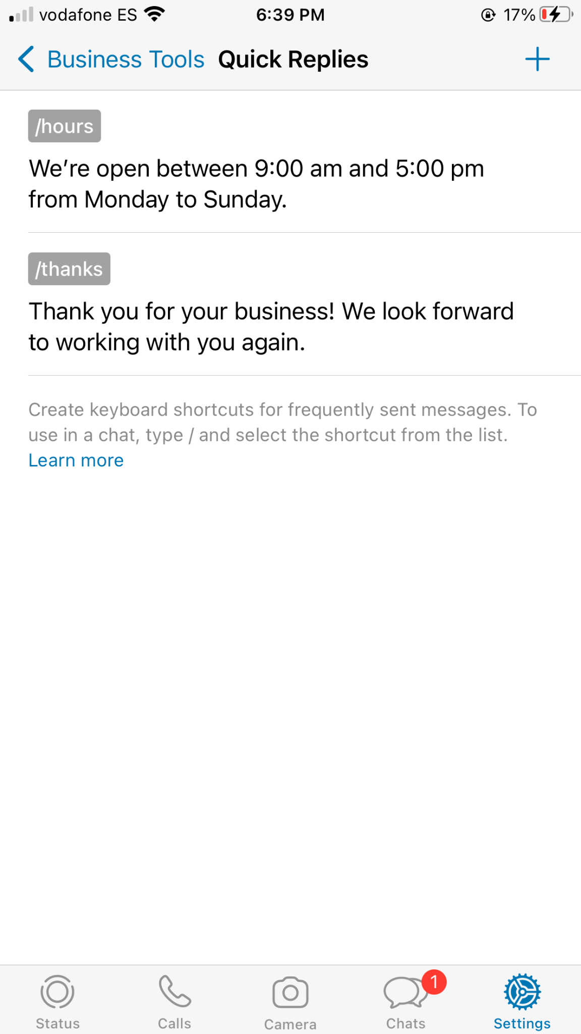 quick replies with whatsapp business tools