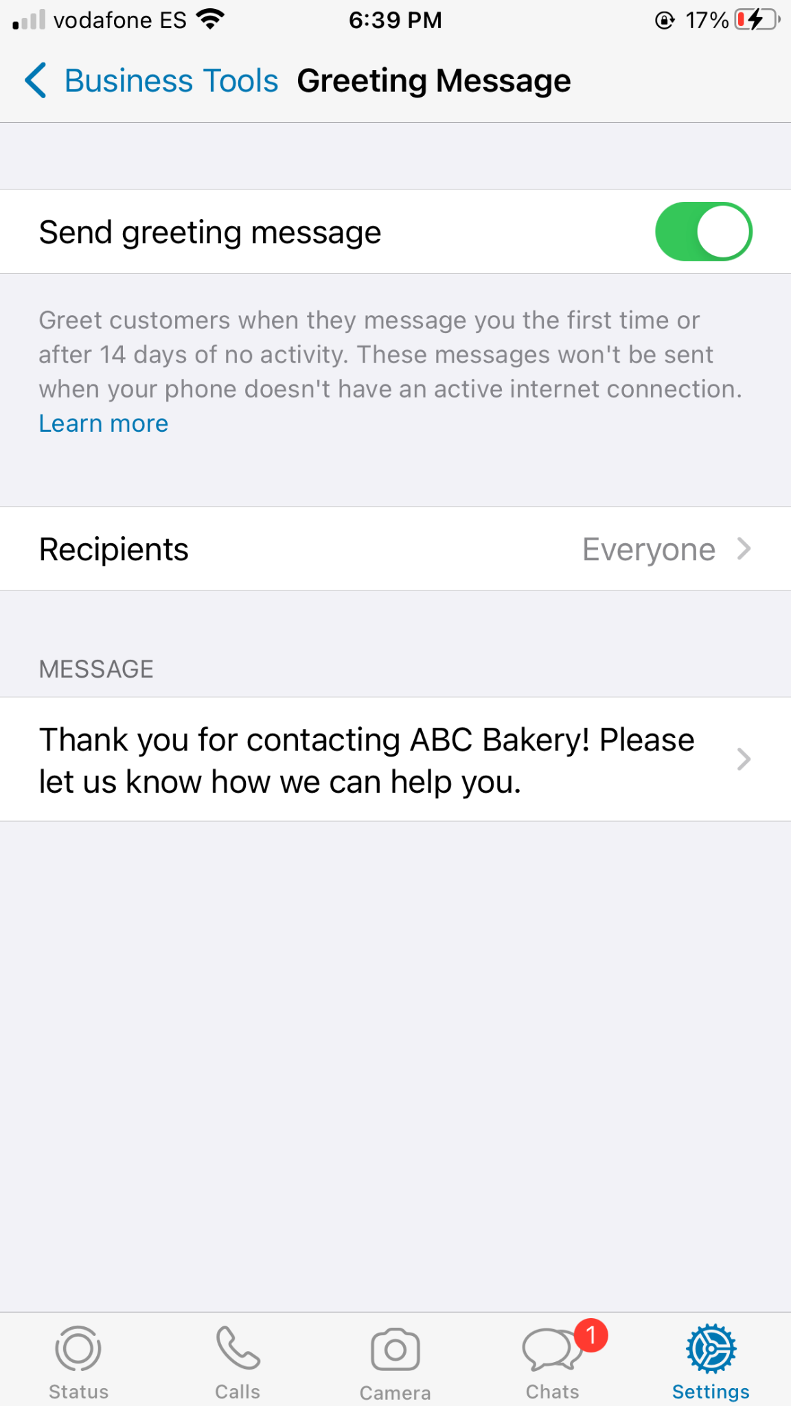 whatsapp business account greeting message