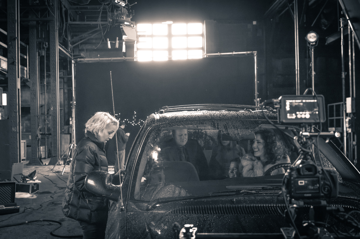 Luvia Petersen directing a music video